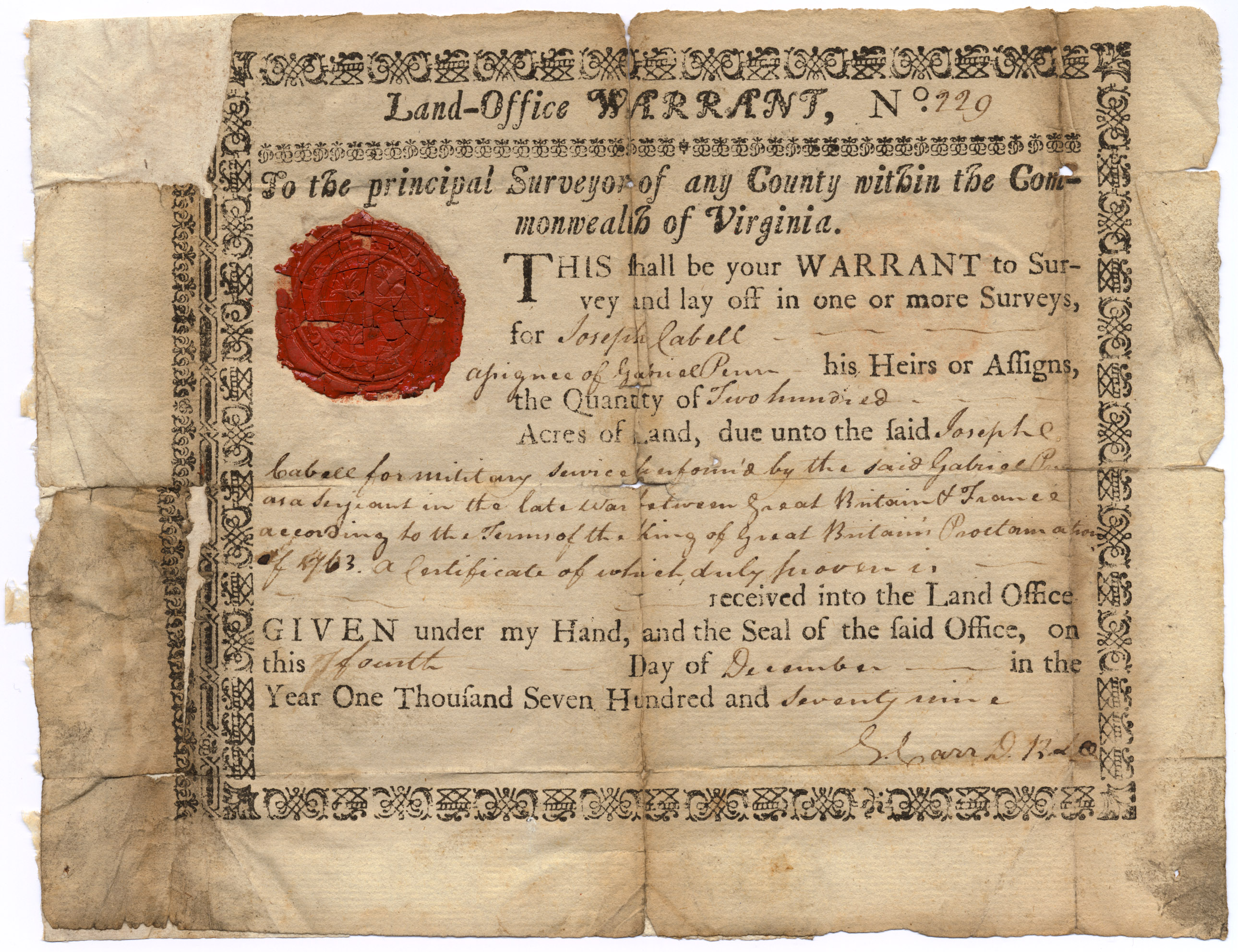 Virginia_Land_Office_Warrant_Number_229_to_Joseph_Cabell_for_Gabriel_Penn